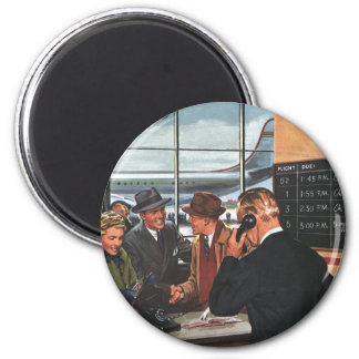 Vintage Business, People at Airline Ticket Counter 6 Cm Round Magnet