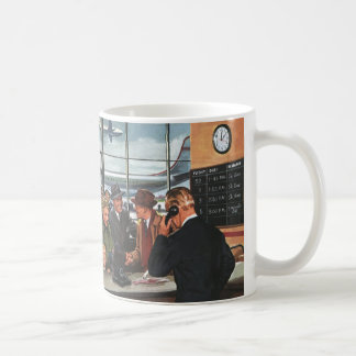 Vintage Business, People at Airline Ticket Counter Basic White Mug