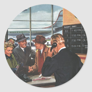 Vintage Business, People at Airline Ticket Counter Round Sticker