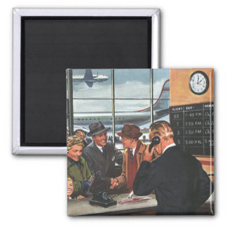 Vintage Business, People at Airline Ticket Counter Square Magnet
