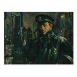 Vintage Business, Policeman on Emergency Phone Postcard