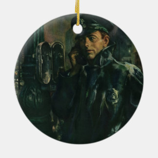 Vintage Business, Policeman on Emergency Telephone Christmas Ornament