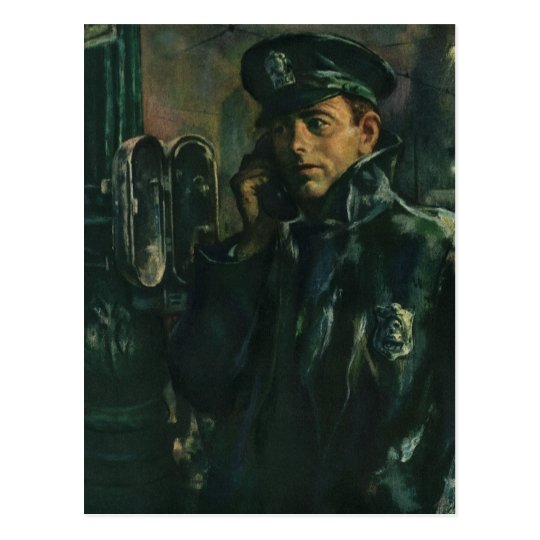 Vintage Business, Policeman on Emergency Telephone Postcard