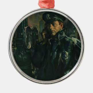 Vintage Business, Policeman on Emergency Telephone Silver-Colored Round Decoration