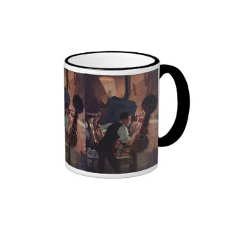Vintage Business, Projectionist in a Movie Theater Ringer Mug
