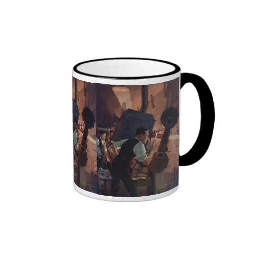 Vintage Business, Projectionist in a Movie Theater Coffee Mugs