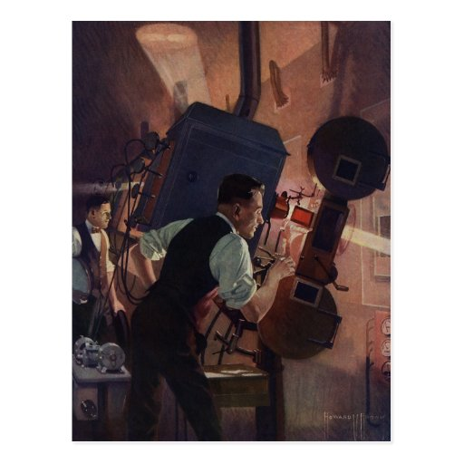 Vintage Business, Projectionist in a Movie Theater Postcards