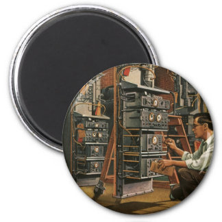 Vintage Business Radio Technician Fixing Equipment 6 Cm Round Magnet