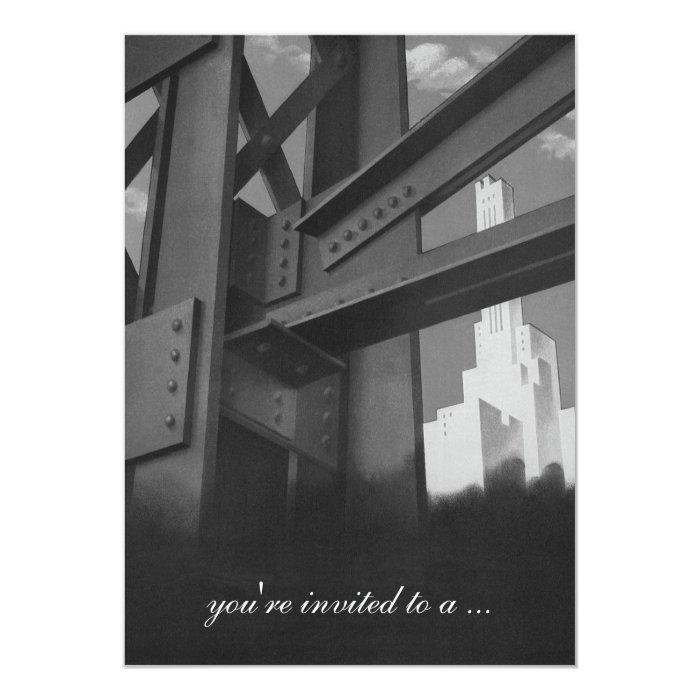 Vintage Business, Skyscraper Building, Retirement 13 Cm X 18 Cm Invitation Card