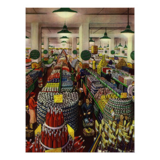 Vintage Business Supermarket, Food and Beverages Poster