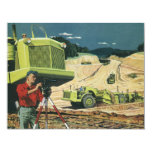 Vintage Business, Surveyor on a Construction Site 11 Cm X 14 Cm Invitation Card