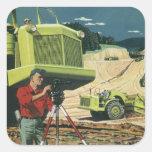 Vintage Business, Surveyor on a Construction Site Square Stickers
