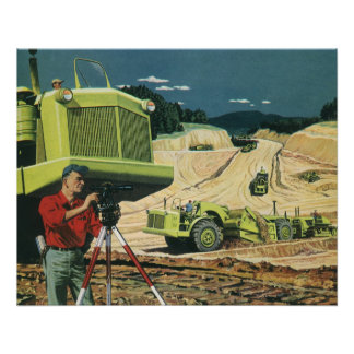 Vintage Business, Surveyor on a Construction Site Perfect Poster