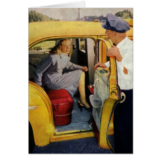 Vintage Business Taxi Cab Driver Female Passenger Greeting Cards