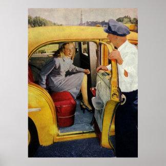 Vintage Business Taxi Cab Driver Female Passenger Print