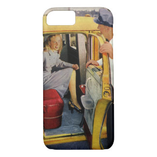 Vintage Business, Taxi Cab Driver Woman Passenger iPhone 7 Case