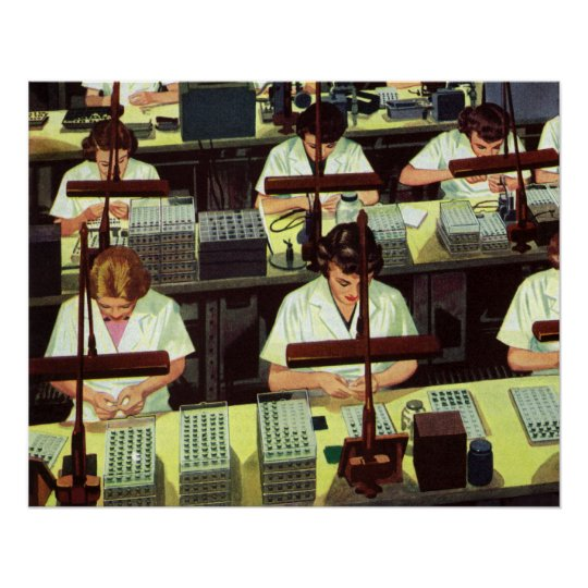 Vintage Business, Telephone Assembly Line Workers Poster