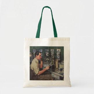 Vintage Business, Telephone Pay Phone Repairman Budget Tote Bag