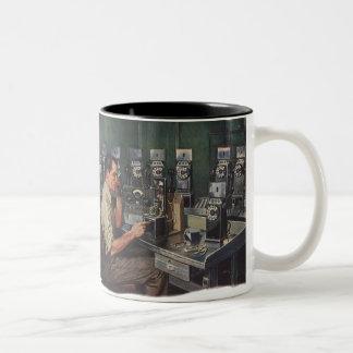 Vintage Business, Telephone Pay Phone Repairman Two-Tone Mug