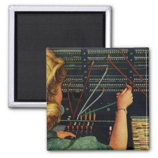 Vintage Business, Telephone Switchboard Operator Magnet