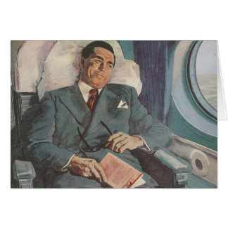 Vintage Business Traveler Reading on the Airplane Greeting Card