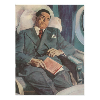 Vintage Business Traveler Reading on the Airplane Postcard