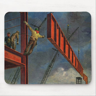 Vintage Business, Workers on Steel Construction Mouse Mat