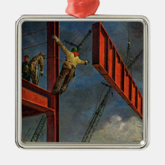 Vintage Business, Workers on Steel Construction Silver-Colored Square Decoration