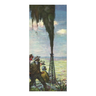 Vintage Business, Workers with Gushing Oil Well 10 Cm X 24 Cm Invitation Card