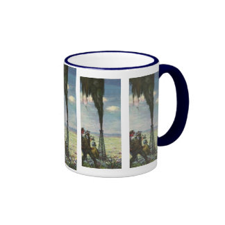 Vintage Business, Workers with Gushing Oil Well Ringer Mug