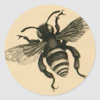 Vintage busy bee round sticker