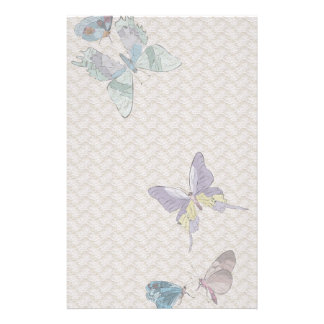 Vintage Butterflies and Lace Stationary Personalized Stationery
