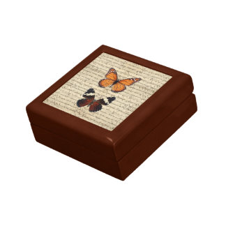 Vintage butterflies collection small square gift box