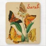 Vintage Butterflies Custom Name Mousepad