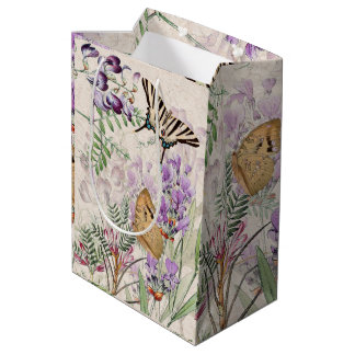 Vintage Butterflies Moths Alpine Flowers Gift Bag