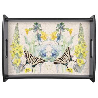 Vintage Butterflies Mullein Flowers Serving Tray