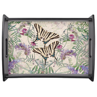 Vintage Butterflies Sweet Pea Flowers Serving Tray