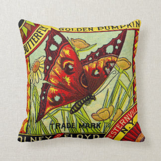 vintage butterfly advertising label cushion pillow