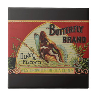 Vintage Butterfly Advertising Label Tile