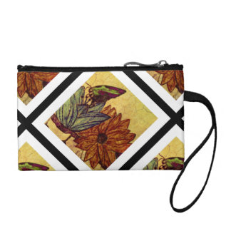 Vintage Butterfly And Flower Mini Cion Clutch Change Purses