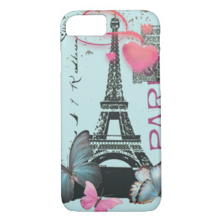 vintage Butterfly blue Paris Effiel Tower iPhone 8/7 Case