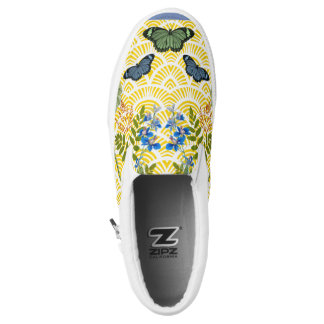 Vintage Butterfly Collage Womens Slip-ons