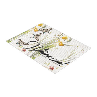 Vintage Butterfly Daffodil Flowers Welcome Doormat