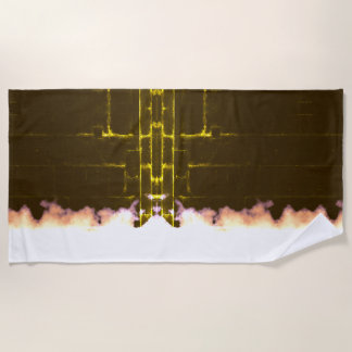 Vintage Butterfly Effect Yellow Light Aged Look Beach Towel