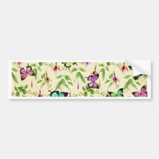 vintage,butterfly,floral,cute,girly,pattern,water bumper sticker