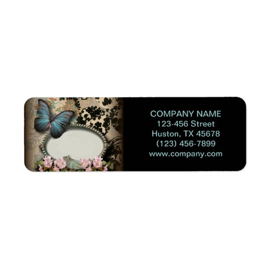 vintage butterfly floral girly beauty SPA fashion Return Address Label