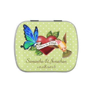 Vintage Butterfly & Hummingbird Wedding Favor Tin Jelly Belly Candy Tins
