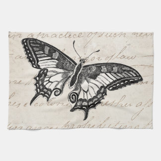 Vintage Butterfly Illustration 1800's Butterflies Tea Towel