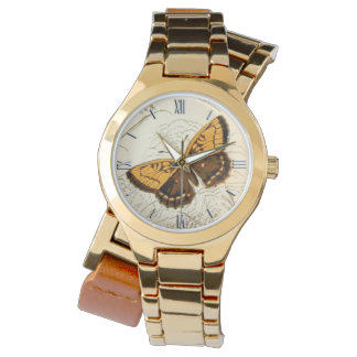 Vintage Butterfly Illustration, Gold and Brown Watches