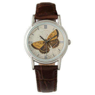 Vintage Butterfly Illustration, Gold and Brown Wristwatch
